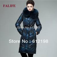 Large Winter Goose Down Coats Women Real Fur Collar Hood Thickening Down Jacket with Belt Long plus size XXXL 4XL Women Parka