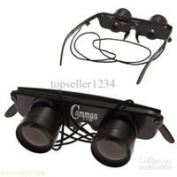 Portable 3 x 28 Glasses Style Anti-Ultraviolet Fishing Telescope Binocular with Strap (Black)