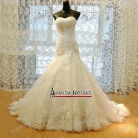2015 Luxurious Croset Bodice Lace Top Quality Real Sample Mermaid Designer Wedding Dress R-363