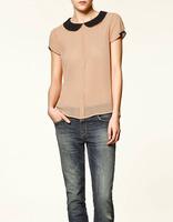 2014 New Summer Turn-down Collar Chiffon Blouse Short Sleeve Shirt    K19