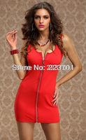 New Fashion Sundress Sexy Front Zipper Women Dress Mini Club Wear