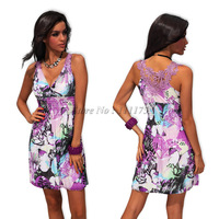Free Shipping 2014 New Arrive Sexy Colorful Printed Design Fashion Lady Summer Dress  4190