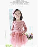 Wholesale and retail 1pcs new 2013 spring&autumn small girls dot cotton &grenadine princess ,children dress Free Shipping