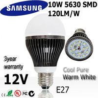 Wholesale 6pcs/lot SAMSUNG SMD 10w led bulb bubble lamp light E27 12V Warm / Natural /  Cold white light bulb  3year warranty