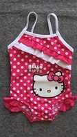 Free Shipping, children/girl/kids' Kitty Mickey swimsuit/swimwear/beach wear/bikini/bathing suit/swimming wear (BBY-145-2)