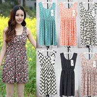 Free Shipping 2014 women's vintage polka dot geometric print flower tank dress elastic waist spaghetti strap knee length dress