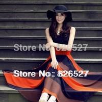 NEW 2013 Fashion BOHO Style rainbow Printings Chiffon Long Maxi Casual Beach Dress  FREE SHIPPING