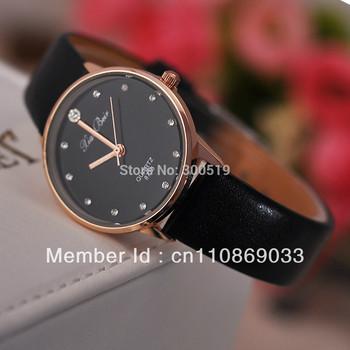 Jw174 классический имитация алмазный настройка золотой чехол часов женская наручные кварцевые часы платье часы PU кожаный ремешок relógio