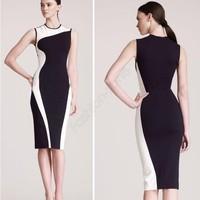 Fashion Women Elegant Vintage Geometry Design Sleeveless O-Neck Stretchy Bodycom Party Evening Slim Dress Plus Size 19758