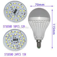 1pcs High brightness LED Bulb Lamp E14 2835smd  5w 7w 10w 5730SMD 1w 4w 6W 9W 12W 15W AC220V Quality Assurance High brightness