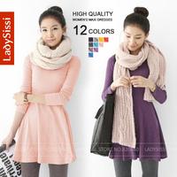 Ladysissi New 2014 Autumn Winter Casual dress 100% Cotton Female woolen mini dress Ladies' O-neck long sleeve fashion dress
