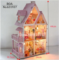 Christmas Gift Sunshine Alice DIY Doll House Model Building Kits Handmade 3D Miniature Wooden Dollhouse Toy English instructions