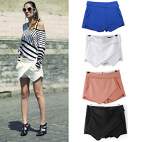 Hot 4 Colors Womens Tiered Shorts Irregular Zipper Trousers Culottes Short Skirt XS S M L XL Blue Black White Orange