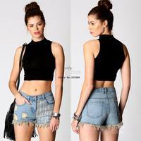 HOT SALE!!! 5pcs/lot Women Ladies Solid Color High-elastic Sleeveless Vest High Collar Bodycon Crop Top T-shirt 17967