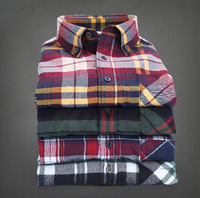 Free shipping high quality fashion cotton long-sleeved shirt for men.Couples shirt. Collision color stitching plaid shirt.