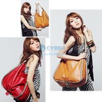 New Fashion Girls' Leisure Big PU Leather Bag Handbag Shoulder Bag 2 Colors 5603