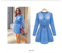 Retail !2014 Sexy Mini Dress Women Fashion Long Sleeve Elastic Waist Denim Dress Blue Slim Jeans Dress Plus Size b7 SV006299