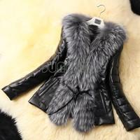 New Fashion Women Winter Leather Jacket Ladies Short Waistcoat Coat