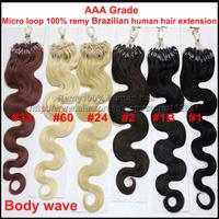 "AAA Grade 20"" Wavy Indian Remy Loop Micro Ring Human Hair Extensions Body wave Black Brown Blonde 100pcs/pack 50gram"