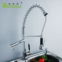 Xiduoli (5 years Warranty) Free shipping Biggest Brass Spring pull out Kitchen sink faucet kitchen Mixer tap with Two spouts