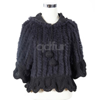QD10938 Lady Fashion Genuine Rabbit Fur Poncho with sleeve charm lovely sweater In stock