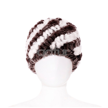 2014 Autumn Ladies' Genuine Knitted Rex Rabbit Fur Hats Caps Winter Women Fur Beanies Female Headgear QD30454