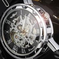 Mens Classic Transparent Steampunk Wristwatch Skeleton Mechanical Man Leather Watch Hot Sale