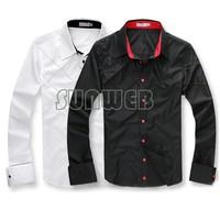 Men's shirt Fashion Casual Slim Fit Stylish cotton Long Sleeve dress shirts Luxury Black M L XL Wholesale Free Shipping 3276