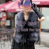 BG11630  2014 Winter Genuine Silver Fox Fur Vest For Women Wholesale Retail Fitted Sexy Gilet Waistcoat Fur