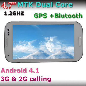 "free shipping 4.7""i9300 android 4.1 MTK6577 Dual Core dual camera 512MB/4GB Dual SIM Cards Dual Standby 3G mobile phone"