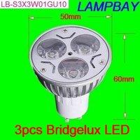 Best shipping fee Factory supply good quality  BRIDGELUX LED spotlight  GU10 3x3W LED chip  CE  bulb two years warranty