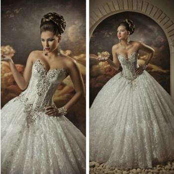 2015 Sexy Corset Beading Sweetheart Bridal Gown vestidos de noiva Ball Gown Wedding Dress Free Shipping
