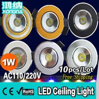 10pcs/Lot, Free Shipping 1W LED Ceiling Light, AC85~265V Power Supply, LED Chip Epistar, LED Ceiling Lamp Warm White/Cold White