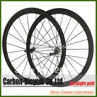 Straight pull 38mm tubular bicycle wheels 700c carbon fiber road bike racing wheelset