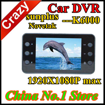 In Stock Car DVR K6000 2.7 inch TFT Screen Car DVR Recorder Black Box SunPlus and Novatek CPU 1920*1080P Max  Free Shipping