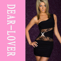 Sexy One shoulder Bodycon Mini Dress With Lace Inserts Black White LC2565 Cheap Price Drop Shipping(China (Mainland))
