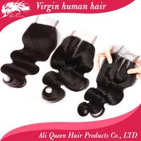 "lace closure brazilian hair body wave Brazilian Hair Lace Top Closure(4""*4"")  body wave swiss lace closure"
