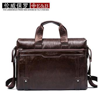 Hot sale! LENWE BOLO New Genuine Leather Men Bag Briefcase Handbag Men Shoulder Bag Laptop Bag,free ship