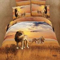 Animal print 3d bedding sets queen size 4pc oil painting Lion/tiger/leopard duvet cover bed sheet bedclothes cotton home textile