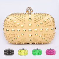 Famous designer luxury gold evening bag Punk style skull rivet rhinestone UK flag party bags with chain women's clutches handbag