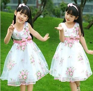 D014 new 2014 summer dress girl chiffon dresses | Children rose flower princess dress size 100-160 flower girls dress