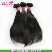 "Berrys queens hair products, peruvian human hair weave virgin hair straight 3pcs/lot (8""-34"") natural super soft  free shipping"