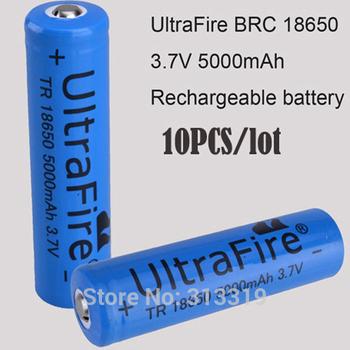 UltraFire TR 18650 3.7V 5000mAh blue Rechargeable li-ion lithium Battery For LED Flashlight Flashtorch 10pcs/lot