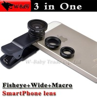 Fish eye Wide Macro 3 in 1 lens for iPhone 4s 5s 6 plus Samsung S5 Note4 for HTC SONY Z1 Z2,1 sets Universal Mobile phone lens