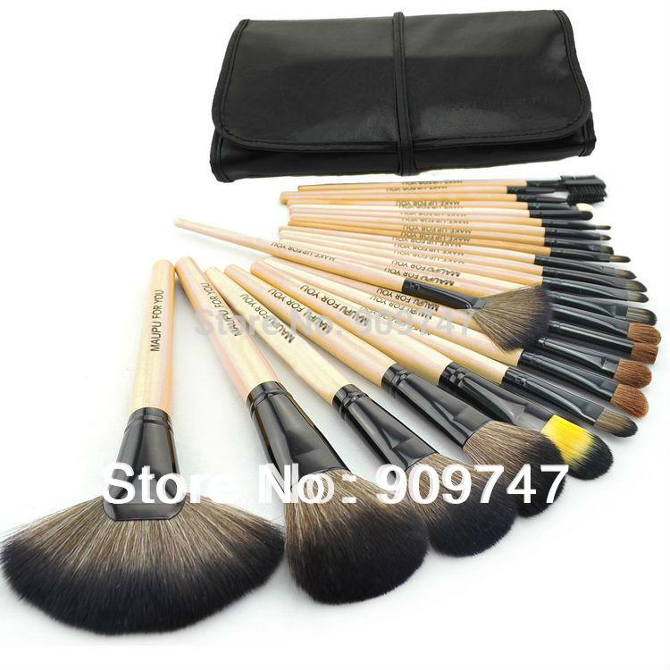 2014 HOT !! Professional 24 pcs Makeup Brush Set tools Make-up Toiletry Kit Wool Brand Make Up Brush Set Case free shipping(China (Mainland))
