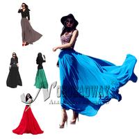 2015 chiffon long skirt spring summer maxi skirts womens fashion elastic high waist new casual skirt floor-length solid color