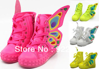 New Lovely Butterfly wings Babys Girls Boys Kids Childrens Sneakers Sandals Shoes Zipper Not lace-up Yellow White Free shipping
