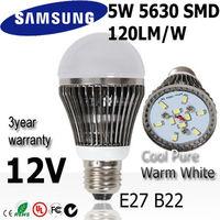 8pcs/lot SAMSUNG 5630  5w led bulb bubble lamp light  E27 12V Warm / Natural /  Cold white light bulb  3year warranty