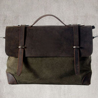 2014 designer vintage canvas bag, crazy horse leather brifecase,old classical style men's bag ,leather flap cover