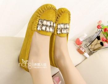 Mujeres 2014 nueva moda puntera redonda zapatos planos con diamantes de imitación zapatos mujer primavera verano gran tamaño grande 35-43 envío libre